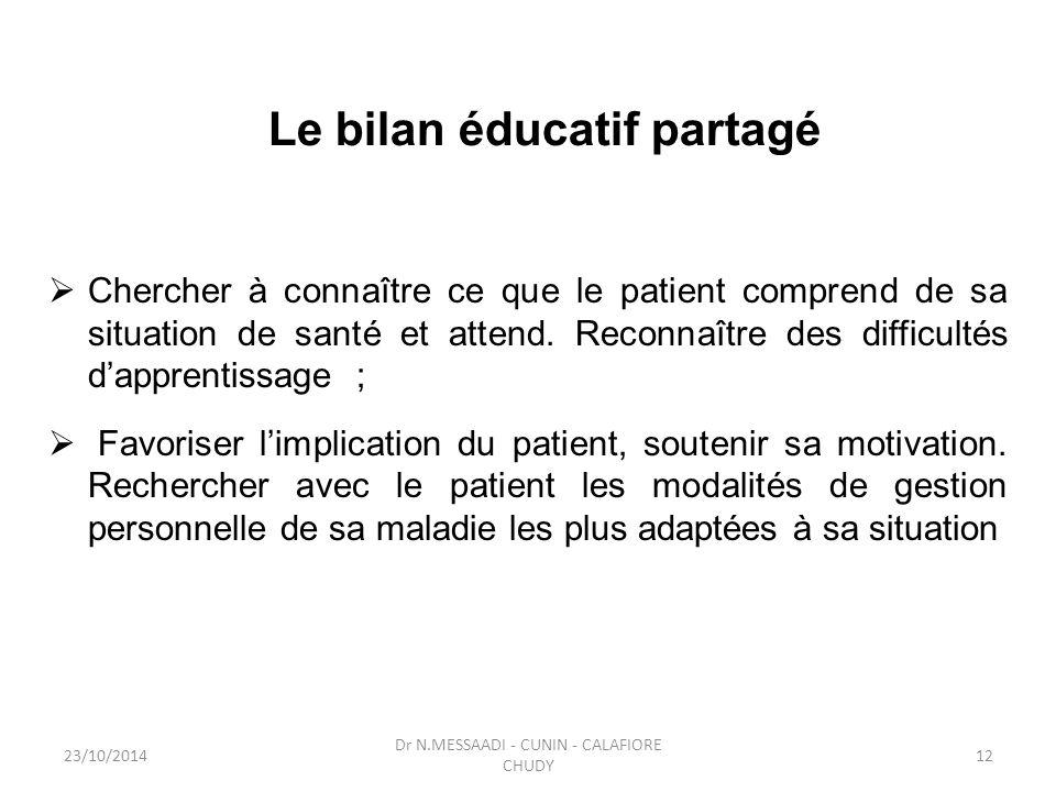 Le bilan éducatif partagé  Chercher à connaître ce que le patient comprend de sa situation de santé et attend. Reconnaître des difficultés d'apprenti