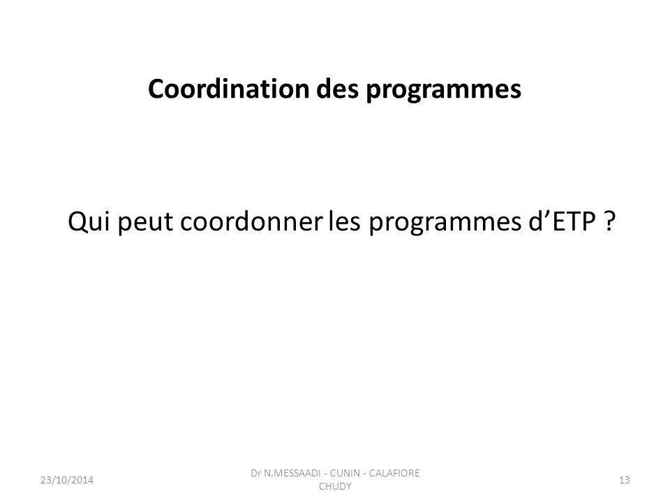 Coordination des programmes Qui peut coordonner les programmes d'ETP ? Dr N.MESSAADI - CUNIN - CALAFIORE CHUDY 23/10/201413