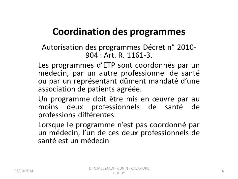 Coordination des programmes Autorisation des programmes Décret n° 2010- 904 : Art. R. 1161-3. Les programmes d'ETP sont coordonnés par un médecin, par