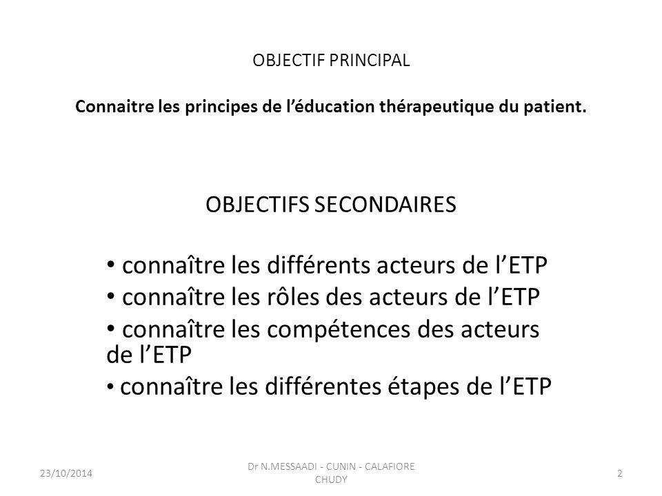 OBJECTIF PRINCIPAL Connaitre les principes de l'éducation thérapeutique du patient. OBJECTIFS SECONDAIRES connaître les différents acteurs de l'ETP co