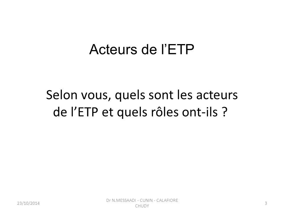 Acteurs de l'ETP Selon vous, quels sont les acteurs de l'ETP et quels rôles ont-ils ? Dr N.MESSAADI - CUNIN - CALAFIORE CHUDY 23/10/20143