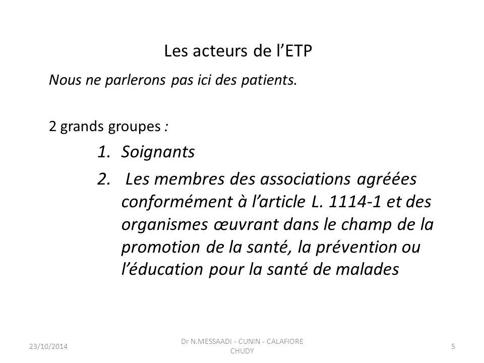 Les acteurs de l'ETP Nous ne parlerons pas ici des patients. 2 grands groupes : 1.Soignants 2. Les membres des associations agréées conformément à l'a