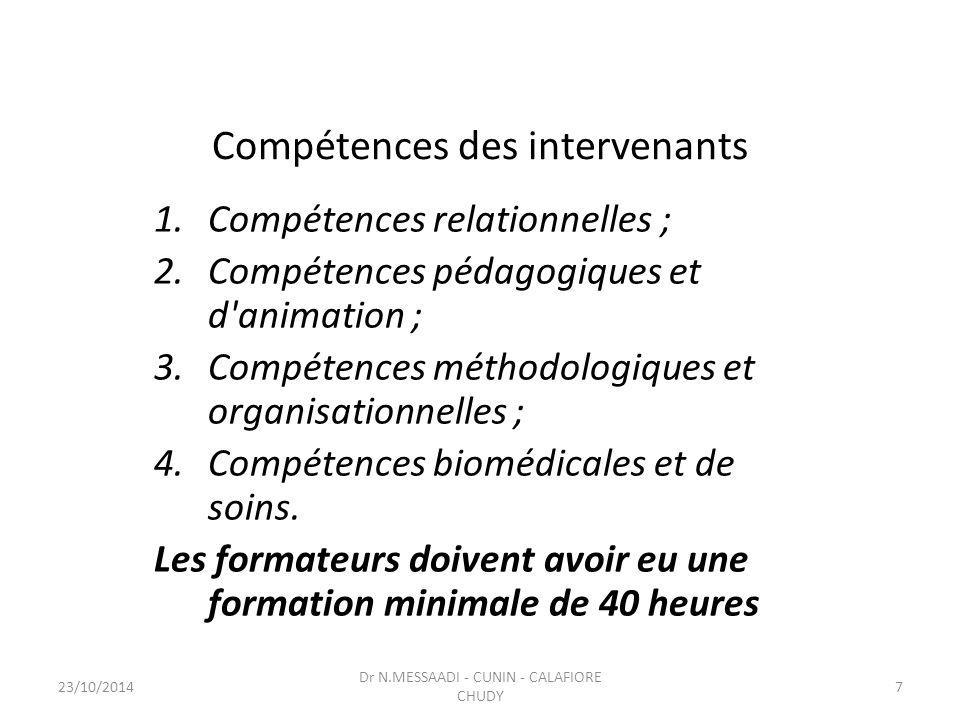 Compétences des intervenants 1.Compétences relationnelles ; 2.Compétences pédagogiques et d'animation ; 3.Compétences méthodologiques et organisationn