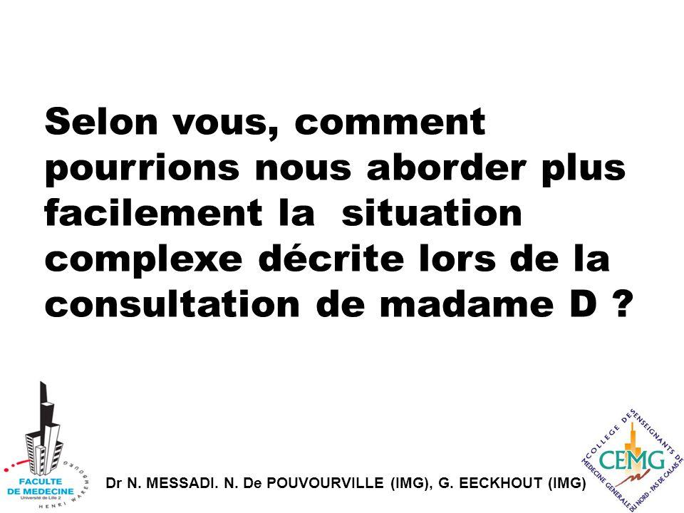 Dr N. MESSADI. N. De POUVOURVILLE (IMG), G. EECKHOUT (IMG) Selon vous, comment pourrions nous aborder plus facilement la situation complexe décrite lo