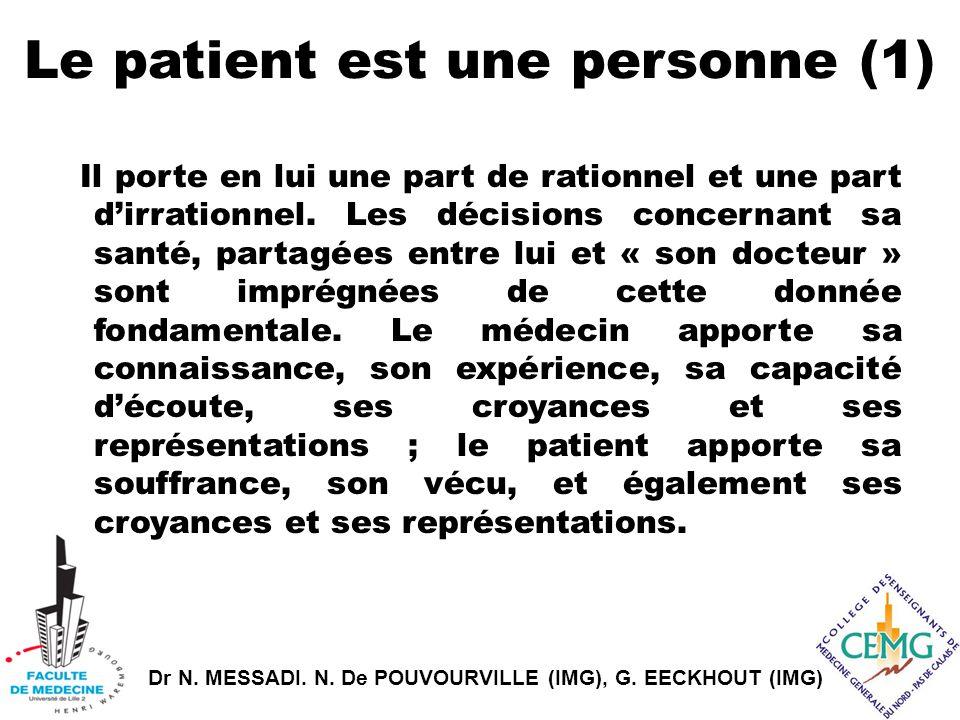 Dr N. MESSADI. N. De POUVOURVILLE (IMG), G. EECKHOUT (IMG) Le patient est une personne (1) Il porte en lui une part de rationnel et une part d'irratio