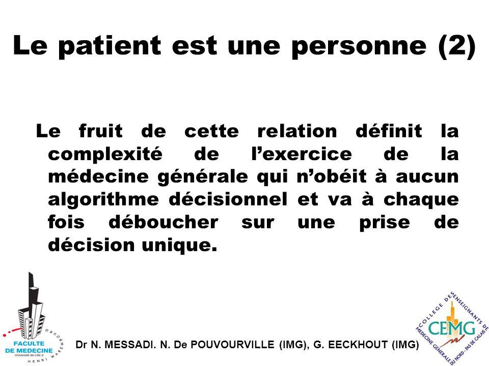 Dr N. MESSADI. N. De POUVOURVILLE (IMG), G. EECKHOUT (IMG) Le patient est une personne (2) Le fruit de cette relation définit la complexité de l'exerc