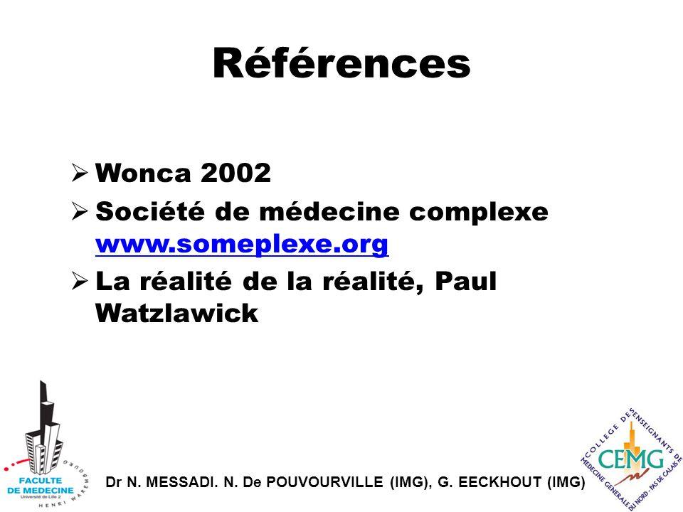 Dr N. MESSADI. N. De POUVOURVILLE (IMG), G. EECKHOUT (IMG) Références  Wonca 2002  Société de médecine complexe www.someplexe.org www.someplexe.org