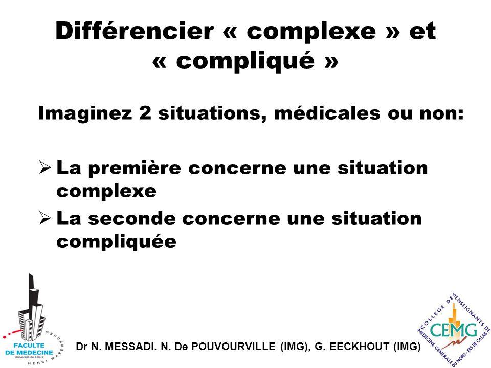 Dr N. MESSADI. N. De POUVOURVILLE (IMG), G. EECKHOUT (IMG) Différencier « complexe » et « compliqué » Imaginez 2 situations, médicales ou non:  La pr