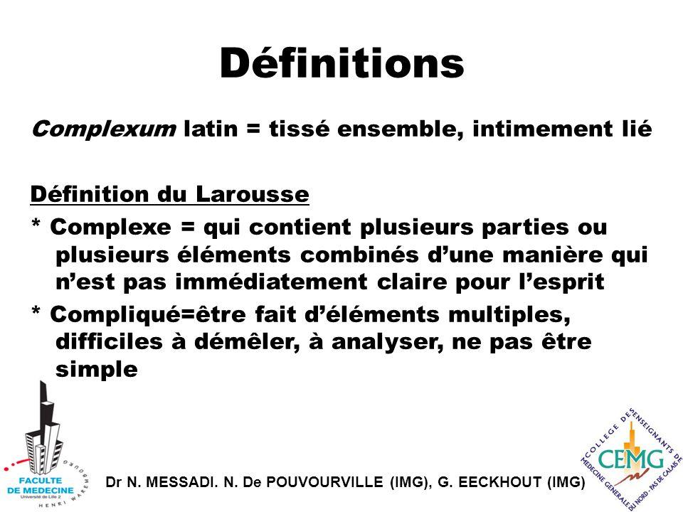 Dr N. MESSADI. N. De POUVOURVILLE (IMG), G. EECKHOUT (IMG) Définitions Complexum latin = tissé ensemble, intimement lié Définition du Larousse * Compl