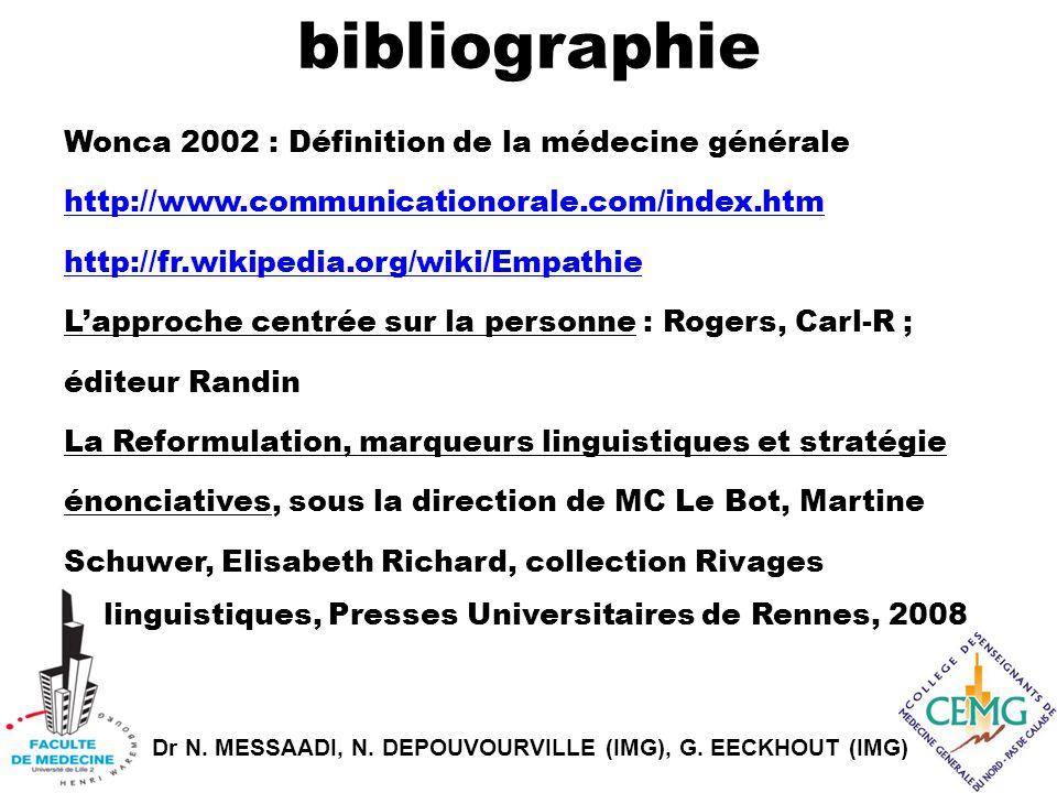 Dr N. MESSAADI, N. DEPOUVOURVILLE (IMG), G. EECKHOUT (IMG) bibliographie Wonca 2002 : Définition de la médecine générale http://www.communicationorale