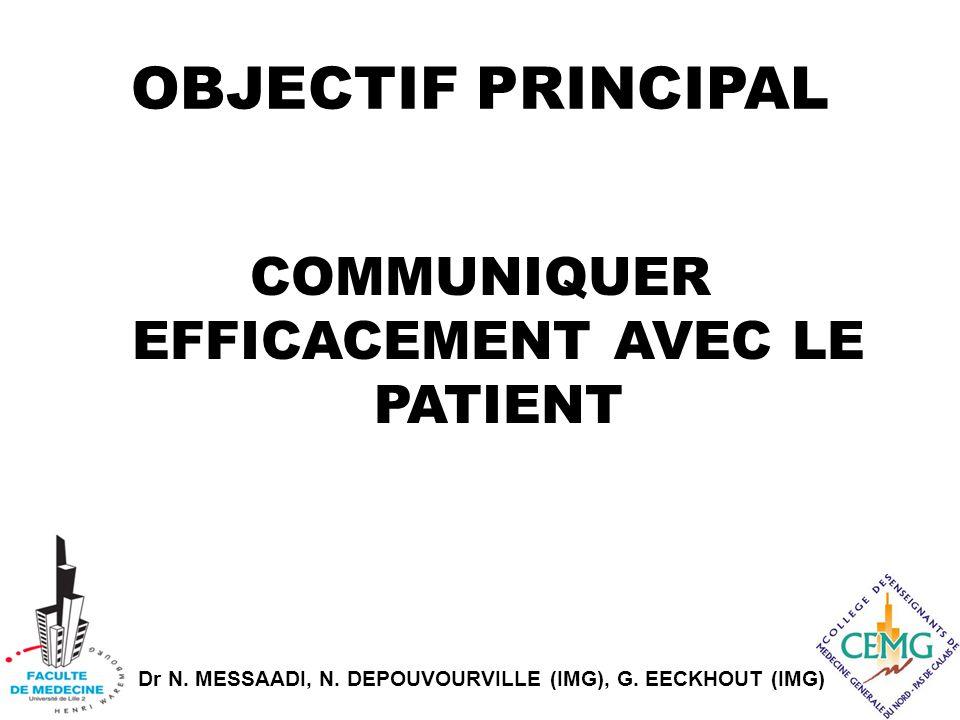 Dr N. MESSAADI, N. DEPOUVOURVILLE (IMG), G. EECKHOUT (IMG) OBJECTIF PRINCIPAL COMMUNIQUER EFFICACEMENT AVEC LE PATIENT