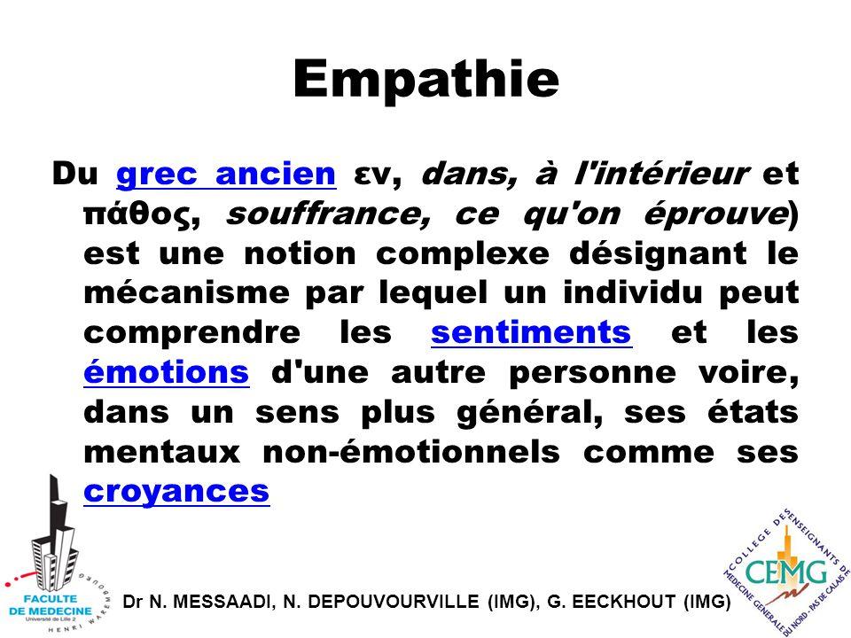 Dr N. MESSAADI, N. DEPOUVOURVILLE (IMG), G. EECKHOUT (IMG) Empathie Du grec ancien εν, dans, à l'intérieur et πάθoς, souffrance, ce qu'on éprouve) est