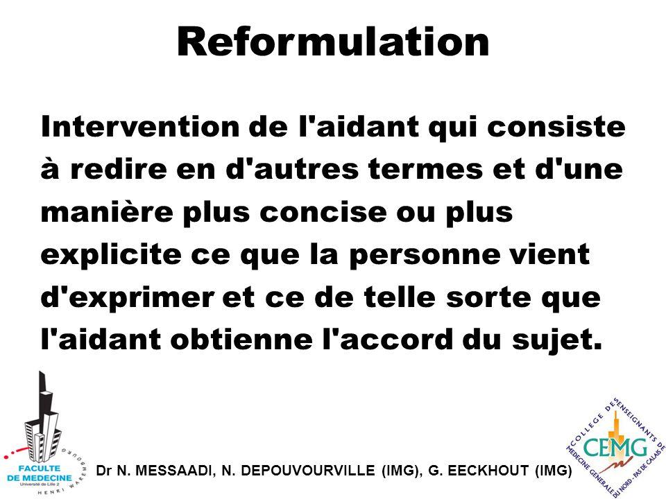 Dr N. MESSAADI, N. DEPOUVOURVILLE (IMG), G. EECKHOUT (IMG) Reformulation Intervention de l'aidant qui consiste à redire en d'autres termes et d'une ma