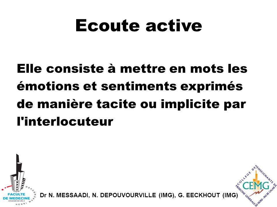 Dr N. MESSAADI, N. DEPOUVOURVILLE (IMG), G. EECKHOUT (IMG) Ecoute active Elle consiste à mettre en mots les émotions et sentiments exprimés de manière