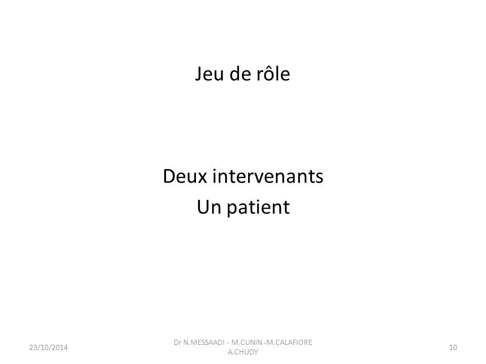 Jeu de rôle Deux intervenants Un patient Dr N.MESSAADI - M.CUNIN -M.CALAFIORE A.CHUDY 23/10/201410