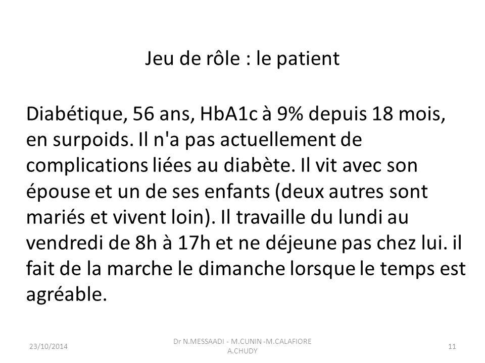 Jeu de rôle : le patient Diabétique, 56 ans, HbA1c à 9% depuis 18 mois, en surpoids.