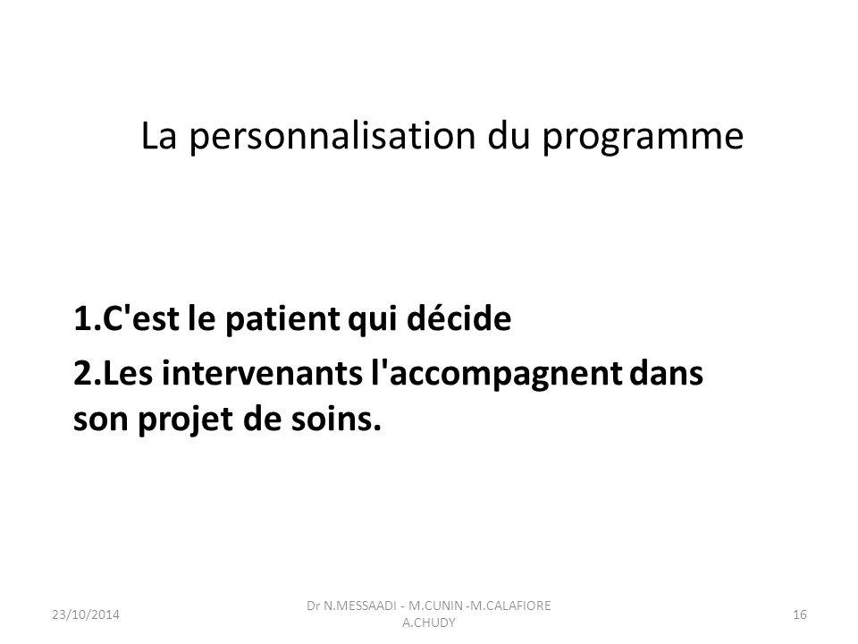 La personnalisation du programme 1.C est le patient qui décide 2.Les intervenants l accompagnent dans son projet de soins.