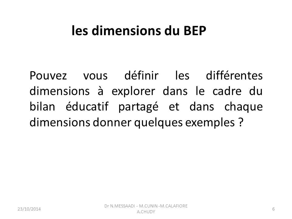 les dimensions du BEP Pouvez vous définir les différentes dimensions à explorer dans le cadre du bilan éducatif partagé et dans chaque dimensions donner quelques exemples .