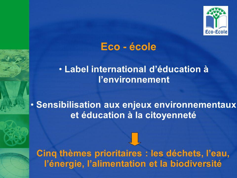 Eco - école Label international d'éducation à l'environnement Sensibilisation aux enjeux environnementaux et éducation à la citoyenneté Cinq thèmes prioritaires : les déchets, l'eau, l'énergie, l'alimentation et la biodiversité