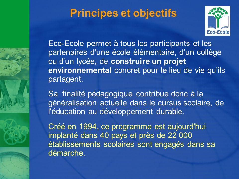 Principes et objectifs Eco-Ecole permet à tous les participants et les partenaires d'une école élémentaire, d'un collège ou d'un lycée, de construire un projet environnemental concret pour le lieu de vie qu'ils partagent.