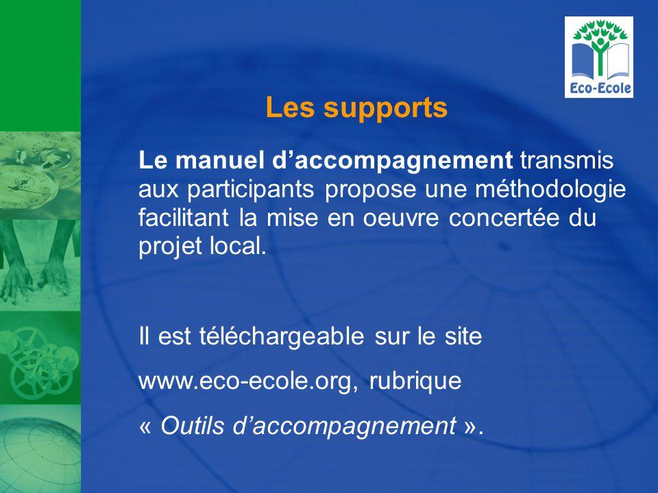 Les supports Le manuel d'accompagnement transmis aux participants propose une méthodologie facilitant la mise en oeuvre concertée du projet local. Il