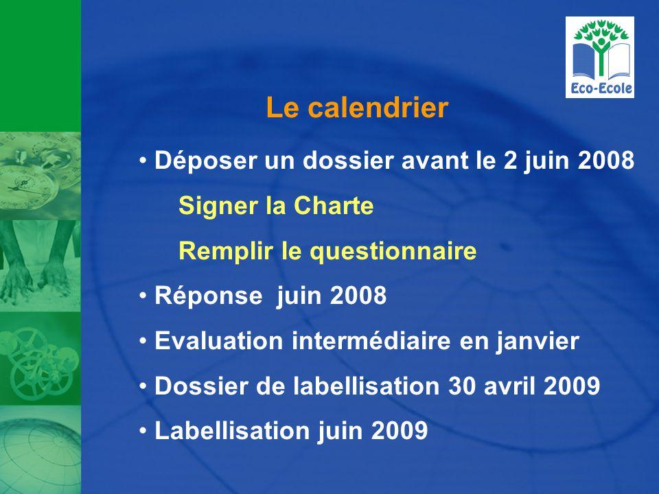 Le calendrier Déposer un dossier avant le 2 juin 2008 Signer la Charte Remplir le questionnaire Réponse juin 2008 Evaluation intermédiaire en janvier