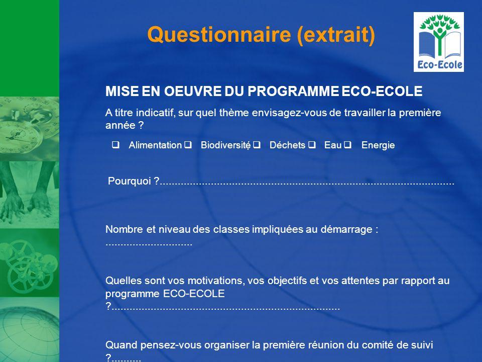 Questionnaire (extrait) MISE EN OEUVRE DU PROGRAMME ECO-ECOLE A titre indicatif, sur quel thème envisagez-vous de travailler la première année .