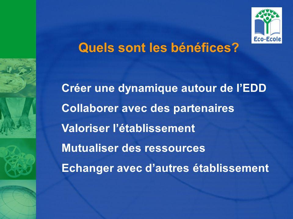 Quels sont les bénéfices? Créer une dynamique autour de l'EDD Collaborer avec des partenaires Valoriser l'établissement Mutualiser des ressources Echa