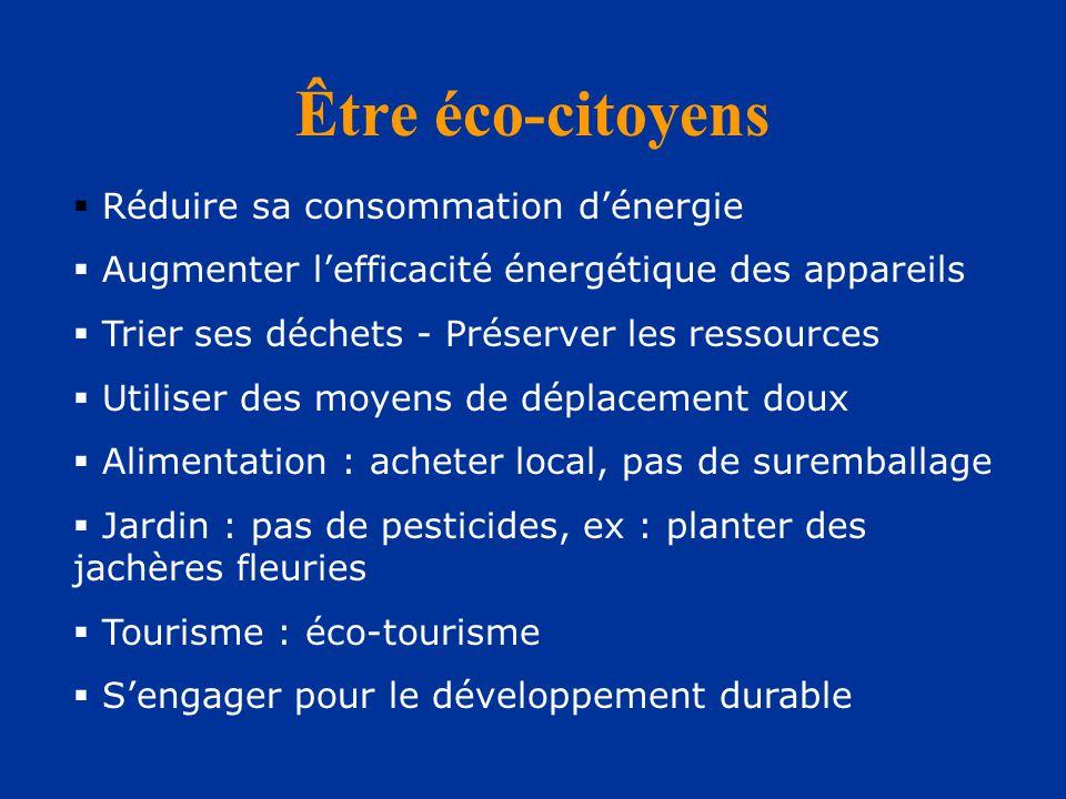Être éco-citoyens  Réduire sa consommation d'énergie  Augmenter l'efficacité énergétique des appareils  Trier ses déchets - Préserver les ressources  Utiliser des moyens de déplacement doux  Alimentation : acheter local, pas de suremballage  Jardin : pas de pesticides, ex : planter des jachères fleuries  Tourisme : éco-tourisme  S'engager pour le développement durable