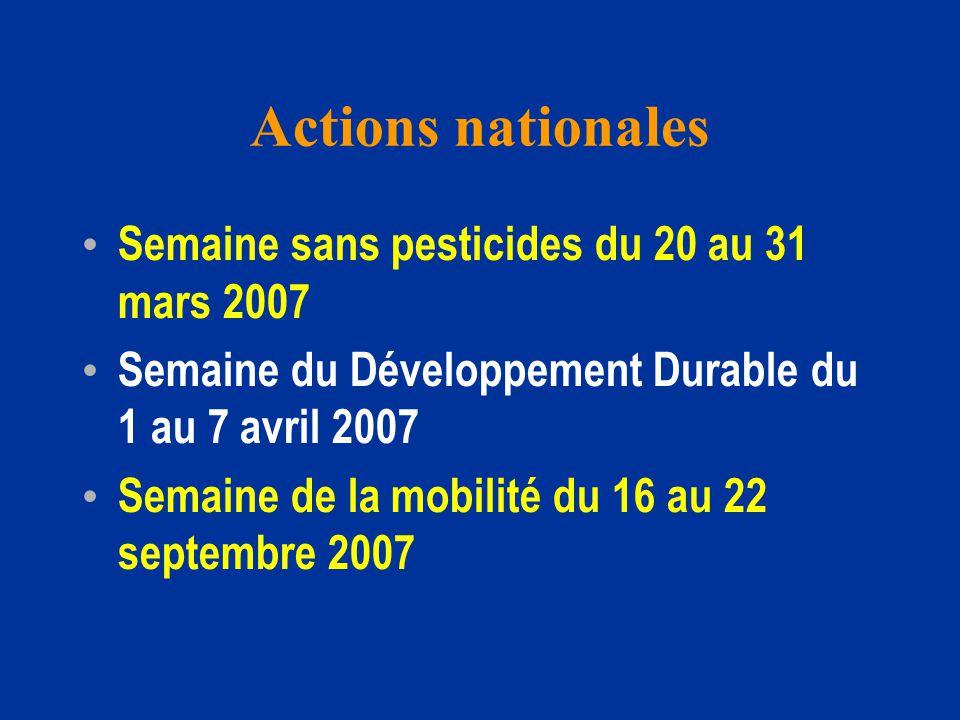 Actions nationales Semaine sans pesticides du 20 au 31 mars 2007 Semaine du Développement Durable du 1 au 7 avril 2007 Semaine de la mobilité du 16 au 22 septembre 2007