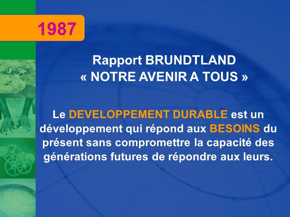 Rapport BRUNDTLAND « NOTRE AVENIR A TOUS » Le DEVELOPPEMENT DURABLE est un développement qui répond aux BESOINS du présent sans compromettre la capacité des générations futures de répondre aux leurs.