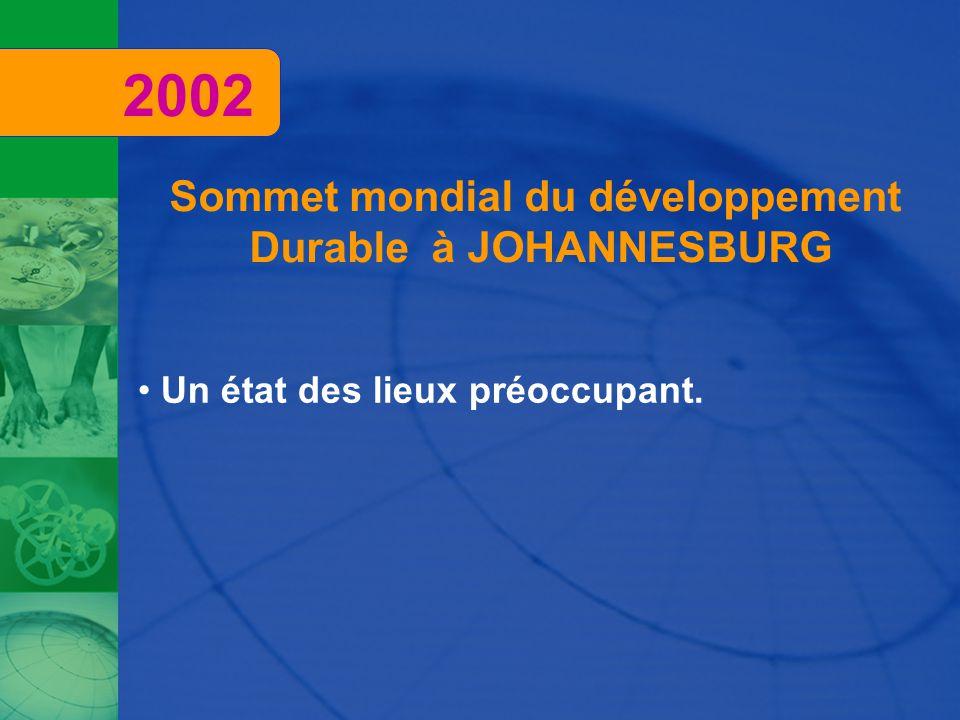 Sommet mondial du développement Durable à JOHANNESBURG Un état des lieux préoccupant. 2002