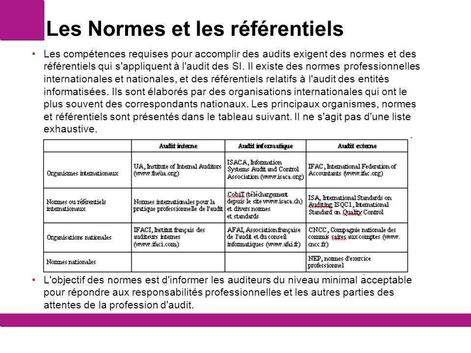 Les Normes et les référentiels Les compétences requises pour accomplir des audits exigent des normes et des référentiels qui s'appliquent à l'audit de