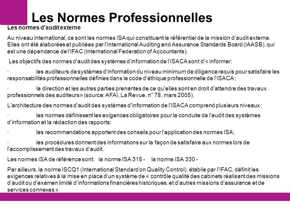 Les Normes Professionnelles Les normes d'audit externe Au niveau international, ce sont les normes ISA qui constituent le référentiel de la mission d'