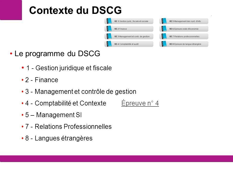 Contexte du DSCG 2 Le programme du DSCG 1 - Gestion juridique et fiscale 2 - Finance 3 - Management et contrôle de gestion 4 - Comptabilité et Context