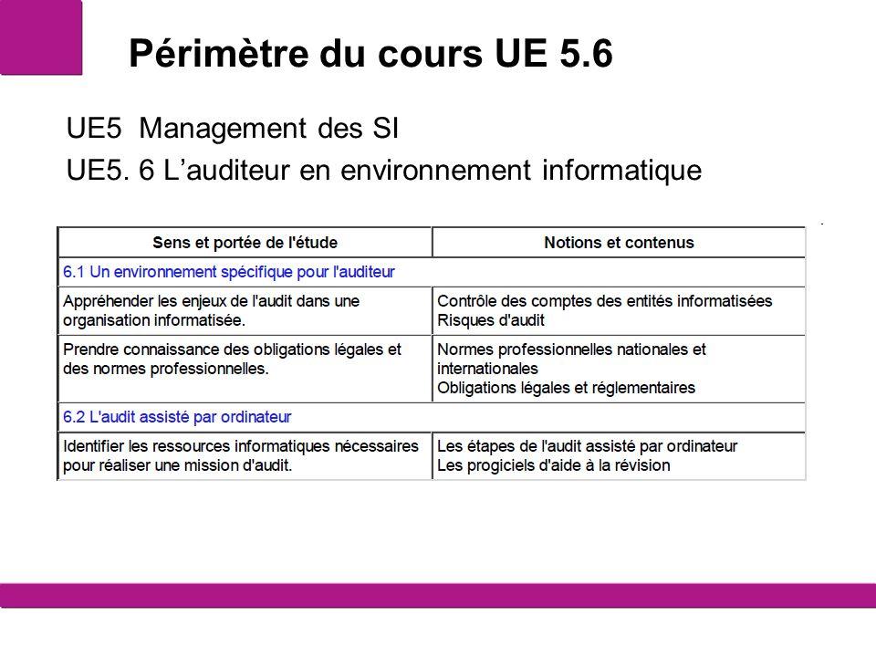 Périmètre du cours UE 5.6 UE5 Management des SI UE5. 6 L'auditeur en environnement informatique