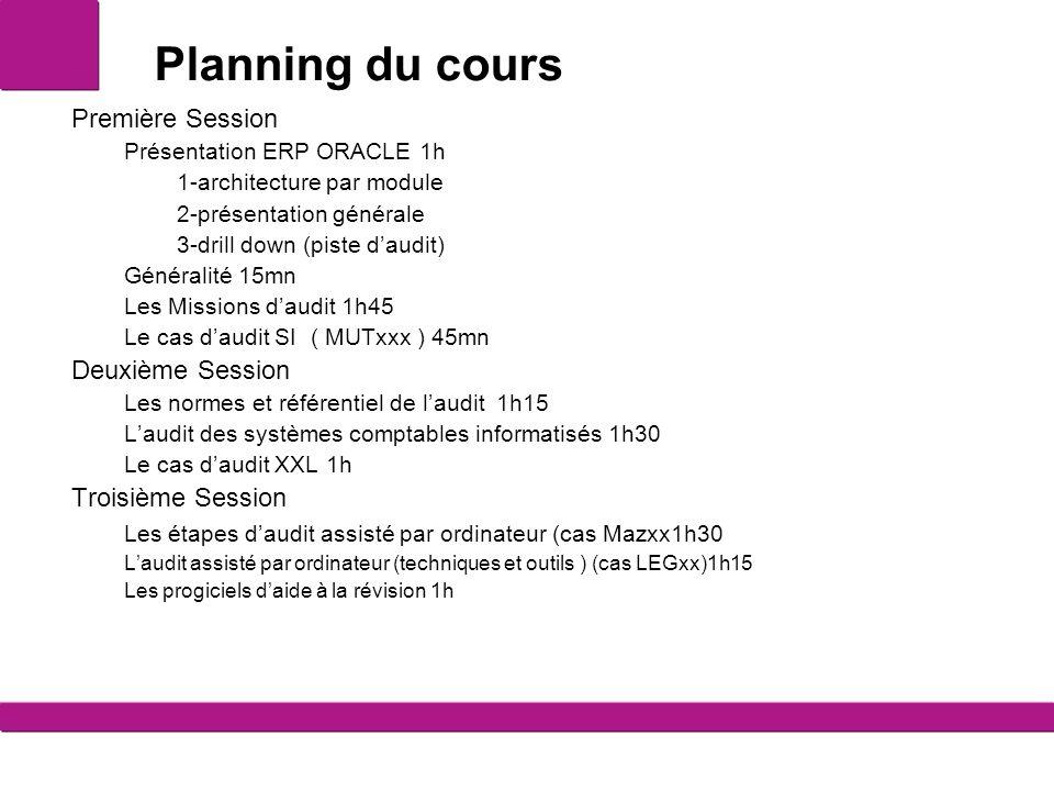 Planning du cours Première Session Présentation ERP ORACLE 1h 1-architecture par module 2-présentation générale 3-drill down (piste d'audit) Généralit