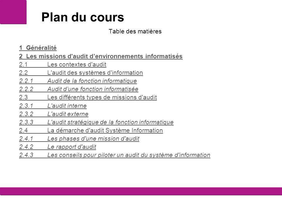 Plan du cours Table des matières 1Généralité 2Les missions d'audit d'environnements informatisés 2.1Les contextes d'audit 2.2L'audit des systèmes d'in