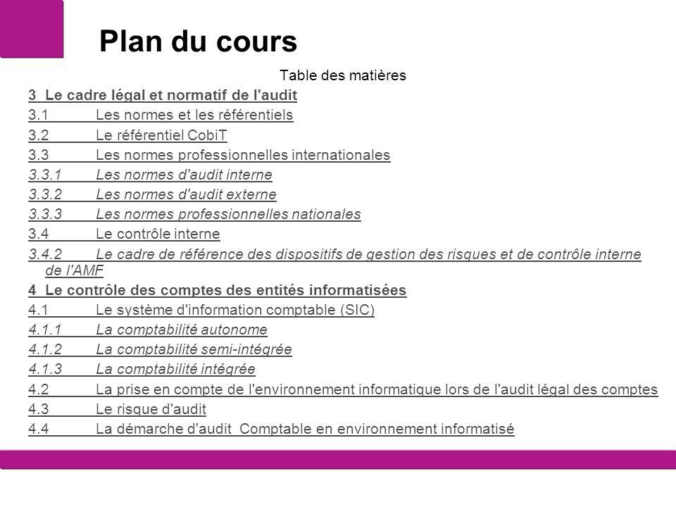 Plan du cours Table des matières 3Le cadre légal et normatif de l'audit 3.1Les normes et les référentiels 3.2Le référentiel CobiT 3.3Les normes profes