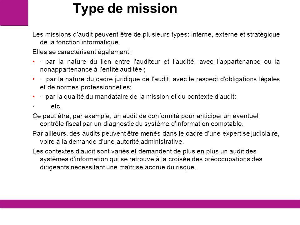 Type de mission L audit interne La mission d audit interne est diligentée par la direction de l entité.