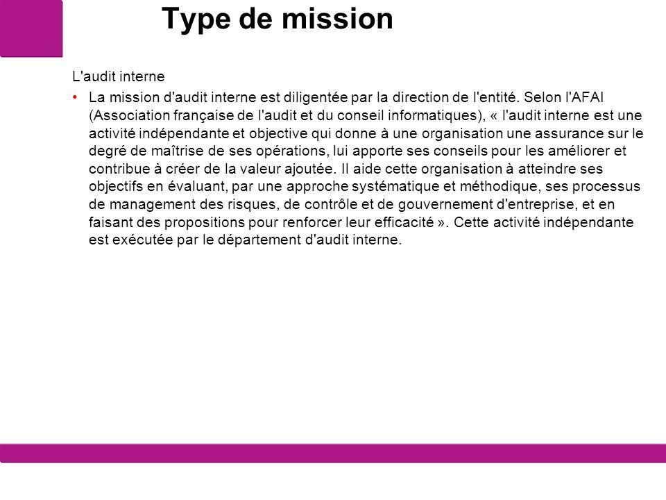Type de mission L'audit interne La mission d'audit interne est diligentée par la direction de l'entité. Selon l'AFAI (Association française de l'audit