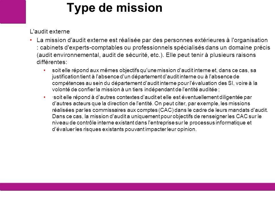 Type de mission L'audit externe La mission d'audit externe est réalisée par des personnes extérieures à l'organisation : cabinets d'experts-comptables