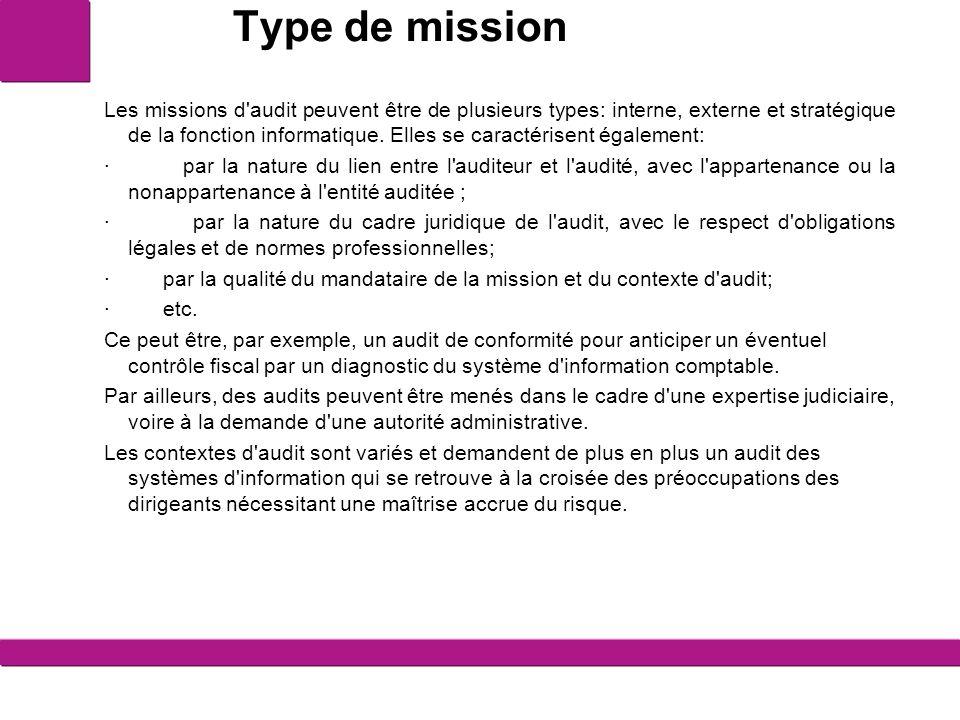 Type de mission Les missions d'audit peuvent être de plusieurs types: interne, externe et stratégique de la fonction informatique. Elles se caractéris