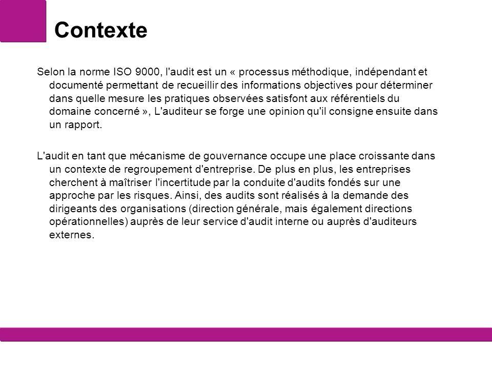 Contexte Selon la norme ISO 9000, l'audit est un « processus méthodique, indépendant et documenté permettant de recueillir des informations objectives