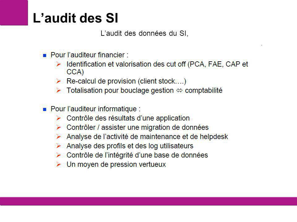 L'audit des SI L'audit des données du SI,