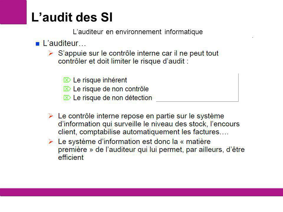 L'audit des SI Le SI un atout pour l'auditeur