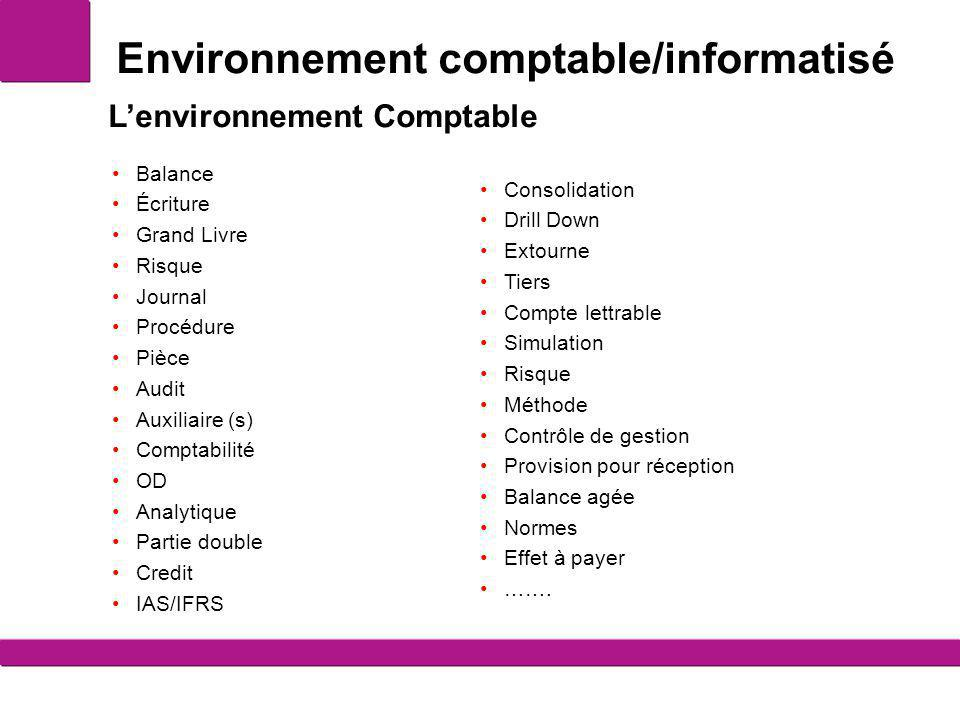 Environnement comptable/informatisé Balance Écriture Grand Livre Risque Journal Procédure Pièce Audit Auxiliaire (s) Comptabilité OD Analytique Partie