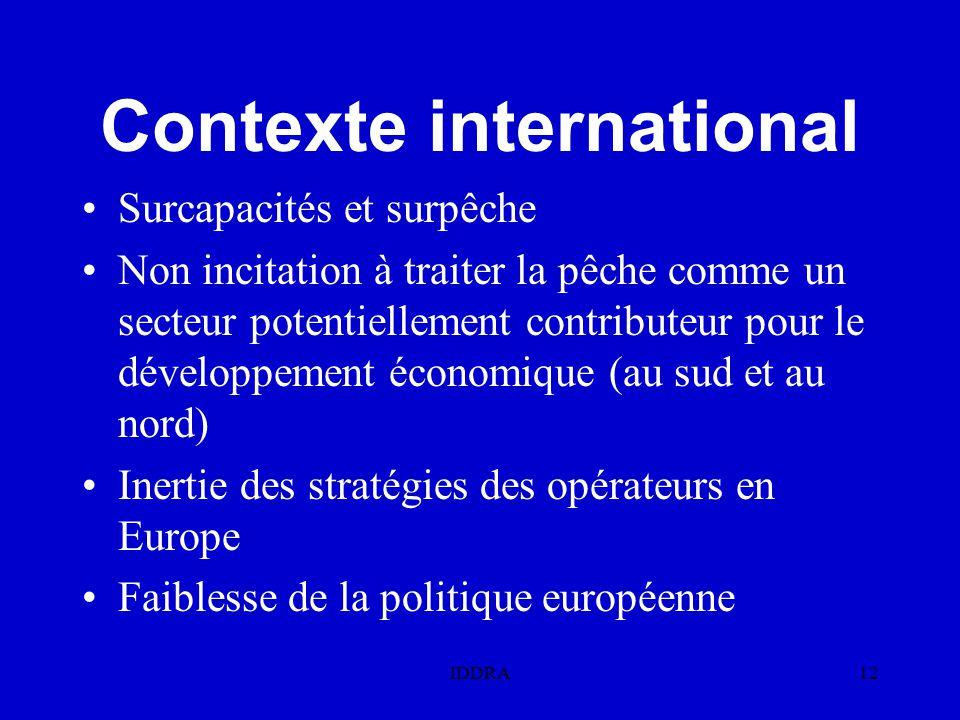IDDRA12 Contexte international Surcapacités et surpêche Non incitation à traiter la pêche comme un secteur potentiellement contributeur pour le développement économique (au sud et au nord) Inertie des stratégies des opérateurs en Europe Faiblesse de la politique européenne