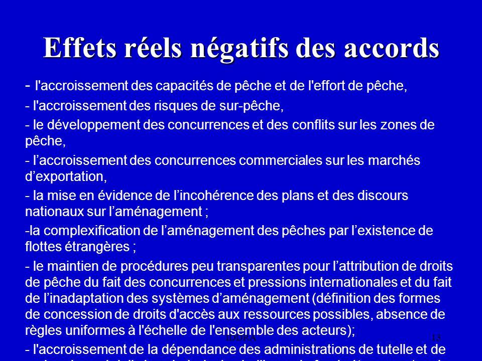 IDDRA13 Effets réels négatifs des accords - l accroissement des capacités de pêche et de l effort de pêche, - l accroissement des risques de sur-pêche, - le développement des concurrences et des conflits sur les zones de pêche, - l'accroissement des concurrences commerciales sur les marchés d'exportation, - la mise en évidence de l'incohérence des plans et des discours nationaux sur l'aménagement ; -la complexification de l'aménagement des pêches par l'existence de flottes étrangères ; - le maintien de procédures peu transparentes pour l'attribution de droits de pêche du fait des concurrences et pressions internationales et du fait de l'inadaptation des systèmes d'aménagement (définition des formes de concession de droits d accès aux ressources possibles, absence de règles uniformes à l échelle de l ensemble des acteurs); - l accroissement de la dépendance des administrations de tutelle et de recherche spécialisées vis à vis des bailleurs de fonds étrangers (par le biais des recettes associées aux APC).