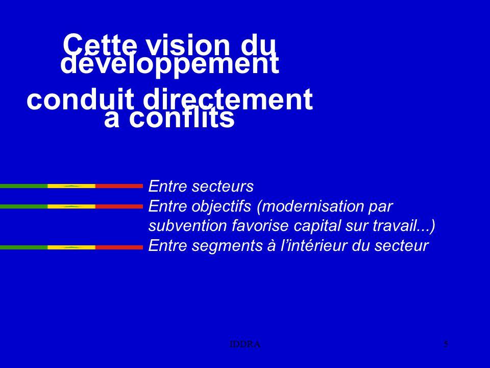 IDDRA5 Entre secteurs Entre objectifs (modernisation par subvention favorise capital sur travail...) Entre segments à l'intérieur du secteur Cette vision du développement conduit directement à conflits